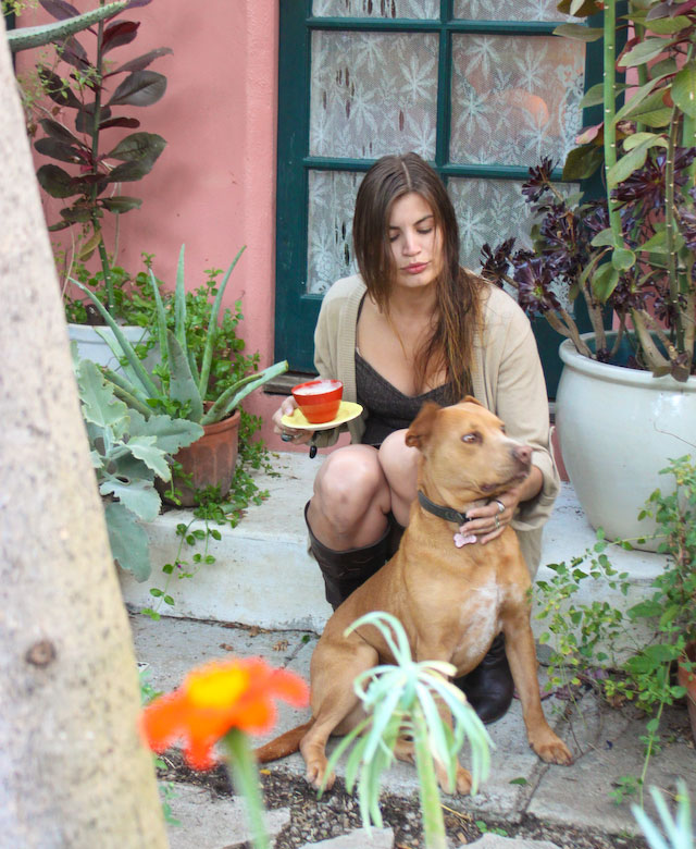 Concrete Flower: 100927: A Garden, A Coffee & A Dog